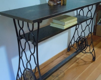 Distressed Pine Console Table with Vintage Singer Sewing Machine Legs