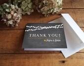 Thank You Card Card, Wedding Thank You, Chalkboard Wedding, String Lights, Folded Thank You - Printable Thank You