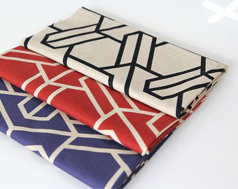 Geometric  Oxford Cotton Fabric - Beige, Red or Blue - By the Yard 83571