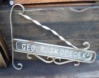 """Ornate Sign 19.5""""x16"""" Geo R Skopecek Original Large Antique/Vintage Aluminum/tin"""