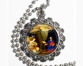 Annunciation Art Pendant, Holy Spirit, Holy Mary and Angels, Resin Pendant,  Francesco Albani Art, Photo Pendant Charm
