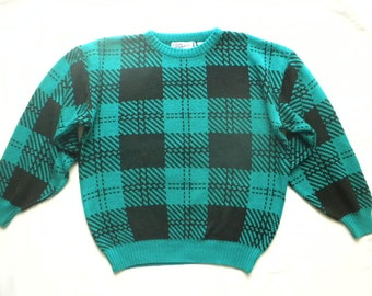 Vtg 80s Club Europe Black Green Plaid Windowpane Sweater Crew Neck Pullover Medium