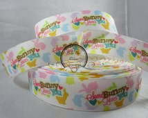 Some Bunny Loves You Easter Grosgrain Ribbon by the Yard 1 Inch RN16013