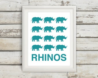 Rhinos, Rhino Print, Rhino Art, Kids Wall Art, Jungle Print, Jungle Poster, Kids Bedroom, Kids, Bedroom Art, Jungle Nursery, Kids Room