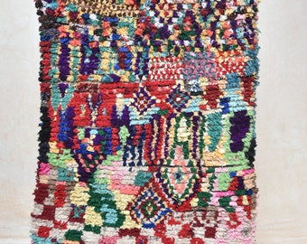 "THE PAINTER'S PALETTE 7'4"" x 4'4"" Boucherouite Rug. Tapis Moroccan. Teppich Berber. Mid Century Modern Danish Design Compliment. ZA16-16"