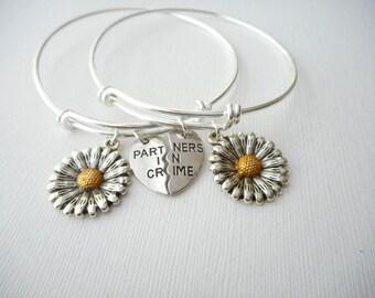 2 Partners in Crime, Sunflower- Friendship Bracelets/ Bff Jewelry, Bff, Partner in Crime, Gift ideas, best friend gift, bff gift, Friend