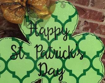 St. Patricks Day Shamrock Wood Door Hanger