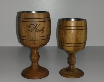 Wooden wine glass, 200ml, 300ml, personalized bridesmaid gift, stainless steel inside, n45