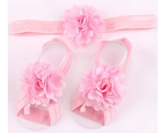 Baby Barefoot Sandals and Headband set,  Pink baby Barefoot Sandals, baby shoes- infant sandals- Baby Girl Shower gifts