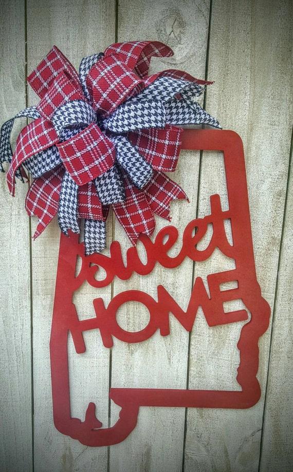 Alabama door hanger sweet home alabama roll tide wreath for Alabama football wall mural