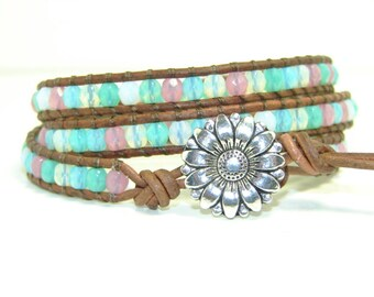 Pastel Beaded Leather Wrap Bracelet, Triple Wrap Bracelet,  Multicolored Wrap Bracelet