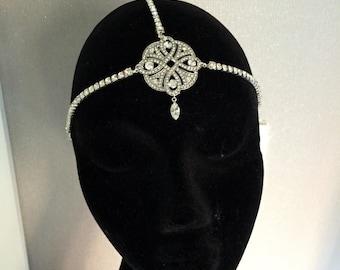 Gatsby headpiece -  1920s headband - Flapper Headband -1920s Art deco style flapper - Great Gatsby headpiece - Wedding Headband -Headdress