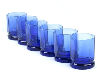 Blue Rocks Glasses (6) - Vintage Cobalt Blue Colored Glassware
