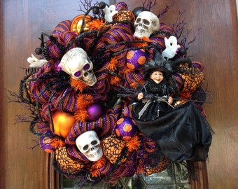 Witch Dressed in Black and Skull Spider Halloween Wreath