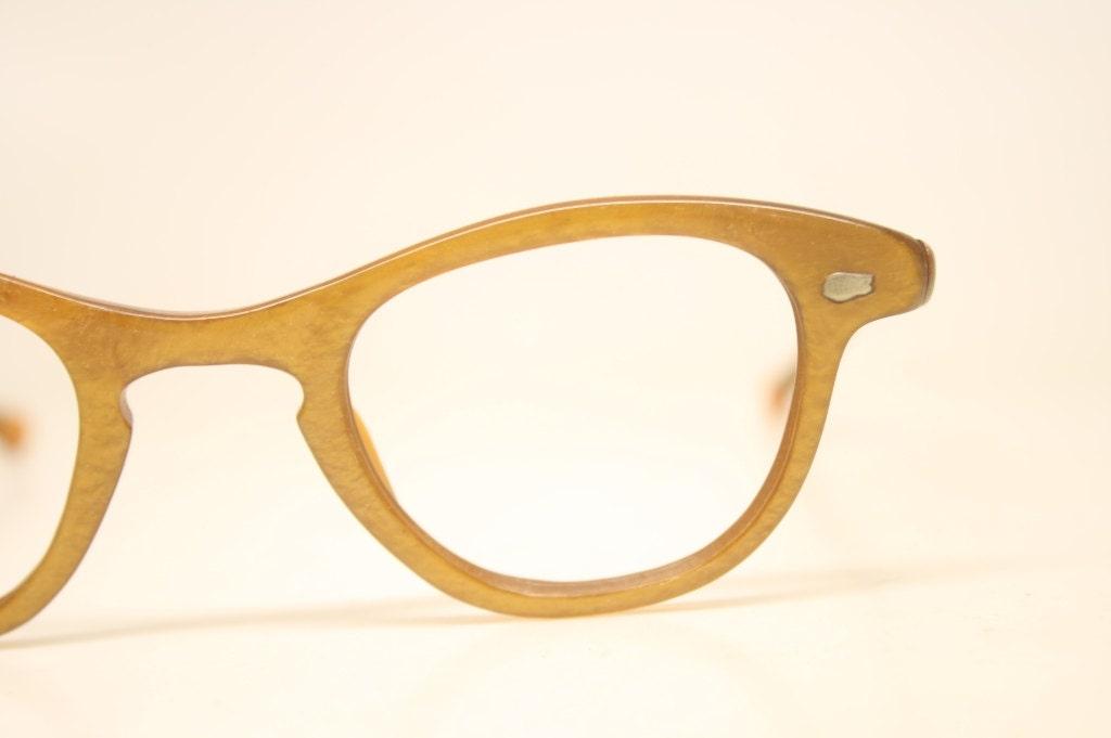 My Glasses Frames Are Peeling : Orange Unused Cat Eye Eyeglasses Vintage Eyewear Retro Glasses