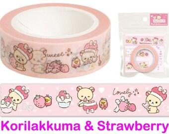 """Korilakkuma Washi Tape - Strawberry - """"Minna Ichigo ni Naare"""" theme"""