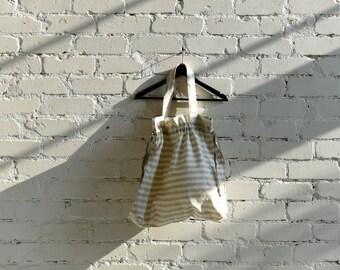 Linen beach bag / Vegan shopper bag / Shopping bag / Linen tote bag / Reusable 100% Linen / Eco friendly flax Grey White Striped bag