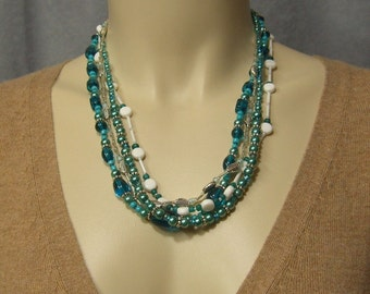 TEAL, TURQUOISE, WHITE ladies multi-strand crystal and pearl necklace with vintage, and silver leaf beads