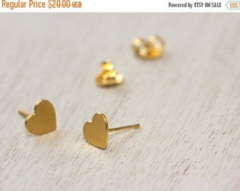 BIG SALE Heart earrings, tiny heart studs, gold stud earrings.