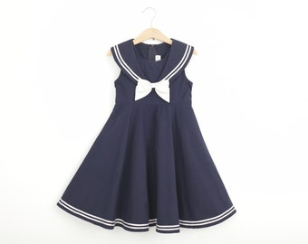 Vintage Sailor Dress in Navy Blue and White Girls Size 6Y