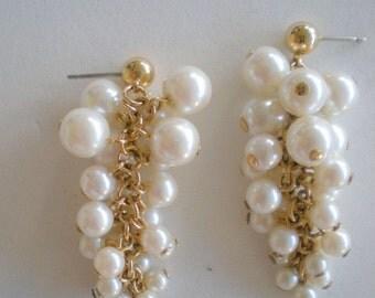 Vintage Earrings Pierced Faux Pearl Cluster Dangle
