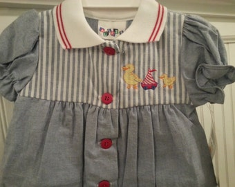 Vintage deadstock Alexis one piece shorts outfit, size 3 months, ducks, sailboat
