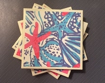 Coasters Lilly Pulitzer She She Shells, Starfish Pattern, Felt-Backed Tile Set of Four
