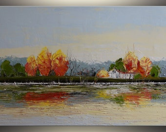 Fall Abstract Landscape painting oil painting on canvas palette knife Painting Original art Red, Landscape Art, Autumn Artwork by Tatjana