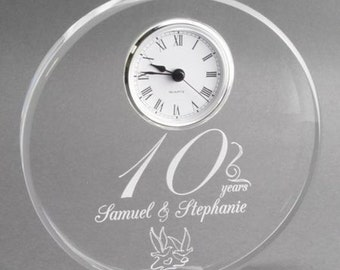 Customized 10th  Anniversary Acrylic Sphere with Inlaid Clock