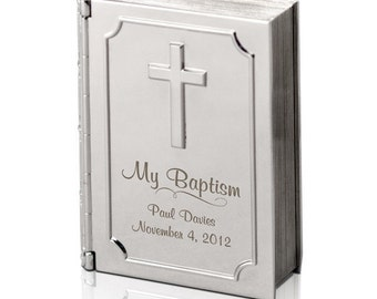 Engraved Silver Baptism Bible Keepsake