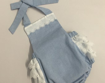 Denim Baby Girl Romper with Eyelet Trimming monogram included
