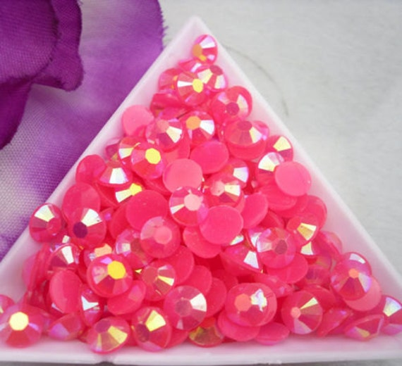 Rose Pink AB Flat Back Round Resin Rhinestones Embellishment Gems C73