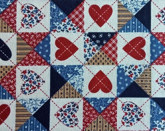 """Heart Print Fabric 1 yd 5"""" long by 44"""" wide"""