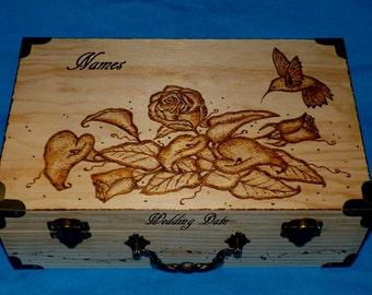 Decorative Rustic Wooden Wedding Box Wood Burned Suitcase Wedding Keepsake Box Engraved Trunk Carved Hummingbird Card Box Bridal Shower Gift