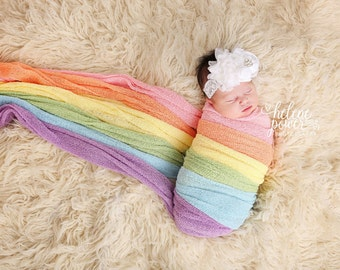 Pastel Rainbow Stretch Knit wraps set of 6 ,  photography newborn prop wrap