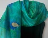 Forest Green Hand Painted Silk Scarf with Bird Design. Teal, Blue, Green Shoulder Wrap. Luxury Silk Scarf. 18x71 inch Long  Silk Scarf