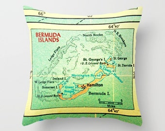 Bermuda Map Pillow Cover, HGTV Magazine Map Pillow, Bermuda Pillow, Anniversary Gifts  Decorative Pillow for Couch Throw Vintage Bermuda Map