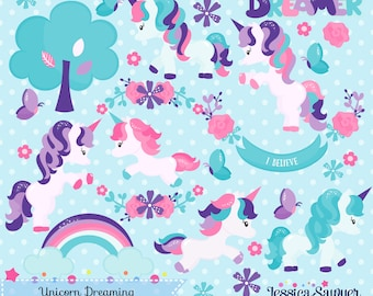 INSTANT DOWNLOAD, unicorn forest clipart and vectors for personal and commercial use