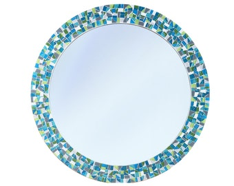 Round Wall Mirror in Teal, Aqua, Lime Green, Gray // Colorful Mosaic Mirror // Decorative Mirror