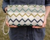 Custom Clutch, for Jody G., Repurposed Denim & Cotton