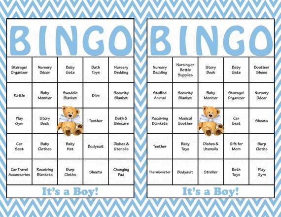 30 Teddy Bear Baby Shower Bingo Cards 30 Prefilled Bingo Cards