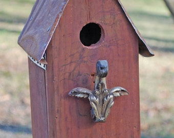 Cute Little Red Birdhouse with Brass Curtin Holdback Perch and Rusty Tin Roof