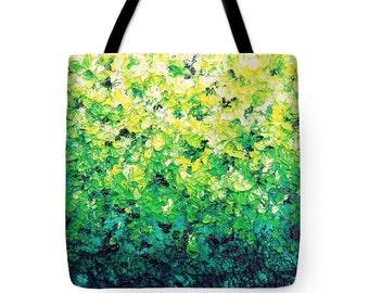 Green Market Bag, Yellow Green Tote Bag, Impressionst Art Canvas Tote, Shoulder Bag, Bohemian Yoga Bag, Boho Chic Book Bag, Large Tote Bag