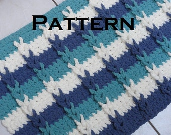 Crochet Pattern Beach House Bath Mat Bathroom Rug DIY