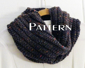 Crochet PATTERN Cowl Beehive Ribbed Cowl Pattern Instructions