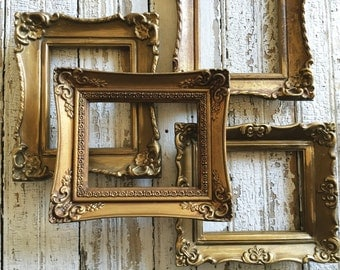 Ornate Gold Frames Set of four Wall Grouping Framing or Wedding