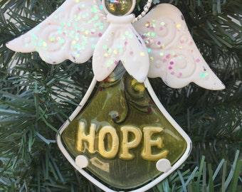Jeweled White & Yellow 'HOPE' Angel Dangler - Angel Sun Catcher - Hanging Angel Sun Catcher- Encouragement - Housewarming