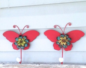 Large Red Butterfly Wall Hooks - Metal Wall Decor - Jewelry Hanger