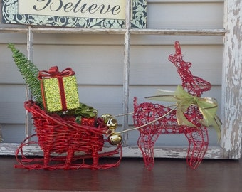 Red Wire Reindeer & Sleigh Mantel Decor / Christmas Holiday Decor Centerpiece