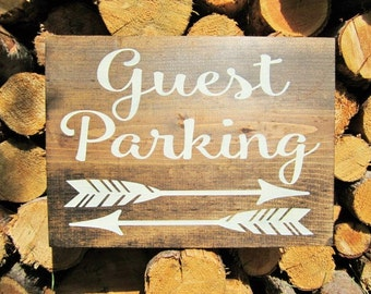Rustic Home Decor Guest Parking Sign Wood Arrow Sign Directional Arrow Sign Business Parking Wedding Sign Road Sign Reception Sign Weddings